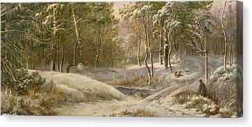 Sportsmen In A Winter Forest Canvas Print by Pieter Gerardus van
