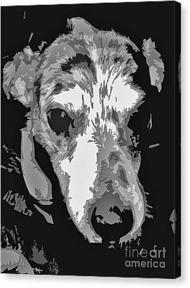 Spotted Dog Black And White Canvas Print by Minding My  Visions by Adri and Ray