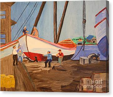 Spring At The Harbor - Tysver's Wharf 1935 Canvas Print by Bill Hubbard