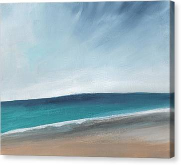 Spring Beach- Contemporary Abstract Landscape Canvas Print by Linda Woods