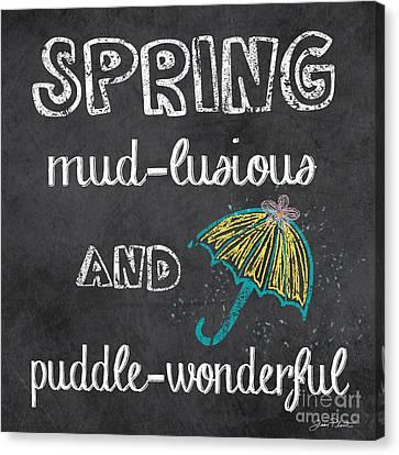 Spring Chalkboard Art-3 Canvas Print by Jean Plout
