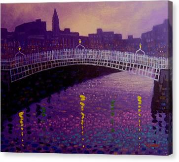 Spring Evening Ha Penny Bridge Dublin Canvas Print by John  Nolan