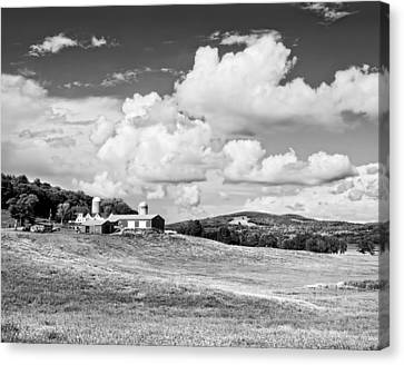 Spring Farm And Hay Field With Clouds In Maine Canvas Print by Keith Webber Jr