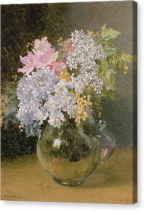 Spring Flowers In A Vase Canvas Print by Maud Naftel