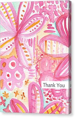 Spring Flowers Thank You Card Canvas Print by Linda Woods