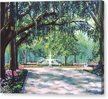 Spring In Forsythe Park Canvas Print by Stanton Allaben