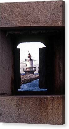 Spring Point Ledge Lightouse Canvas Print by Skip Willits