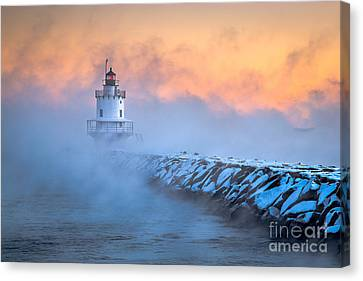 Spring Point Ledge Sea Smoke Canvas Print by Benjamin Williamson
