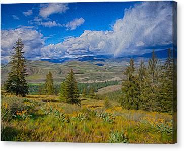 Spring Rain Across A Valley Canvas Print by Omaste Witkowski