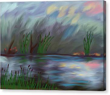 Spring Reed In The Canyon Canvas Print by Angela A Stanton