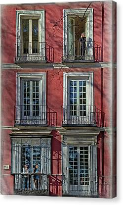 Spring Sunshine In Madrid Canvas Print by Joan Carroll