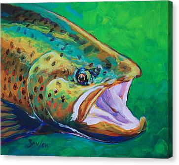 Spring Time Brown Trout- Fly Fishing Art Canvas Print by Savlen Art