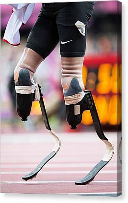 Sprinter At Start Of Paralympics 100m Canvas Print by Science Photo Library