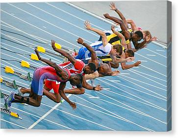 Sprinters Leaving Their Blocks Canvas Print by Science Photo Library