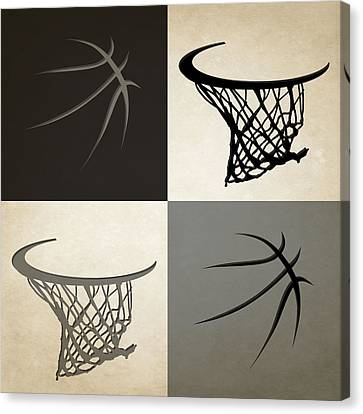 Spurs Ball And Hoop Canvas Print by Joe Hamilton