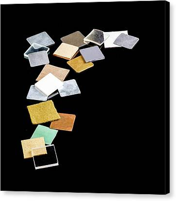 Squares Of Everyday Materials Canvas Print by Science Photo Library