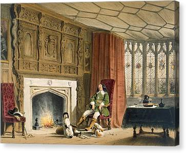 Squire With His Dogs By The Hearth Canvas Print by Joseph Nash