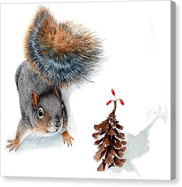 Squirrel And Festive Pine Cone Canvas Print by Inger Hutton
