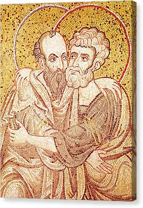 Saints Peter And Paul Embracing Canvas Print by Byzantine School