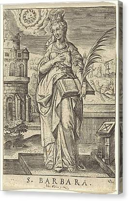 St. Barbara, Johannes Wierix Canvas Print by Johannes Wierix