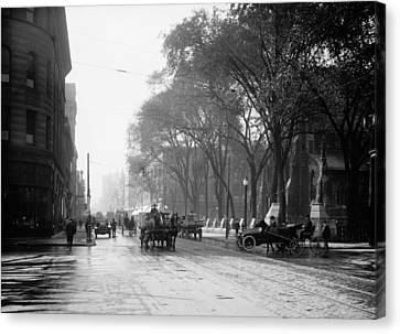 St Catherine Street - Montreal 1910 Canvas Print by Mountain Dreams