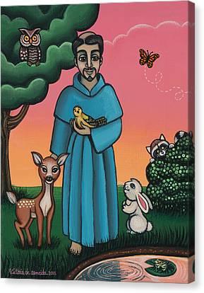 St. Francis Animal Saint Canvas Print by Victoria De Almeida