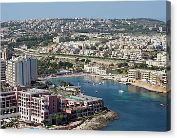 St George Bay, Aerial View, Malta Canvas Print by Nico Tondini
