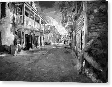 St George Street St Augustine Florida Painted Bw Canvas Print by Rich Franco