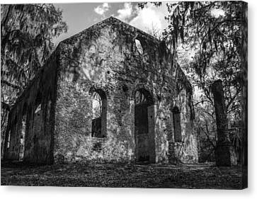 St Helena Chapel Of Ease  Bw 3 Canvas Print by Steven  Taylor