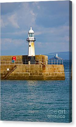 St Ives And Godrevy Lighthouses Cornwall Canvas Print by Terri Waters