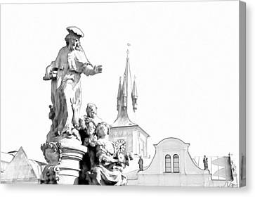 St. Ivo Statue On The Charles Bridge. Prague Canvas Print by Jenny Rainbow