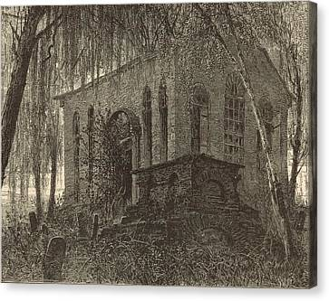 St. James Church Or Goose Creek Church And Cemetery 1872 Engraving Canvas Print by Antique Engravings