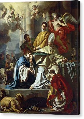 Saint Januarius Visited In Prison By Proculus And Sosius Canvas Print by Francesco Solimena
