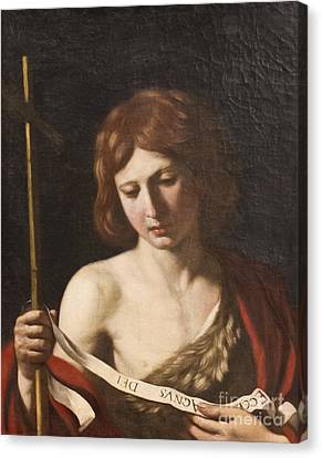 St John The Baptist By Guercino Canvas Print by Roberto Morgenthaler
