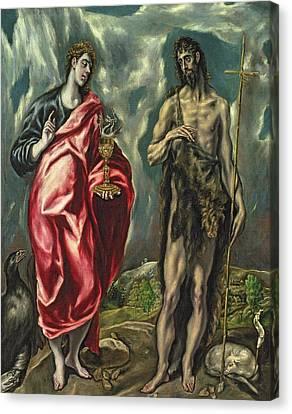 St John The Evangelist And St John The Baptist Canvas Print by El Greco Domenico Theotocopuli