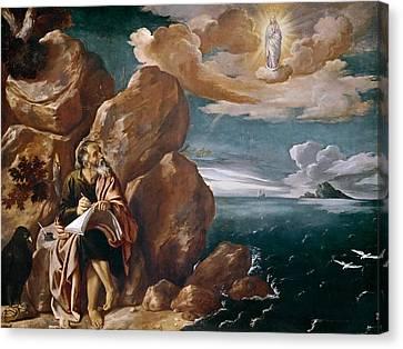 St John The Evangelist On Patmos Canvas Print by Pedro Orrente