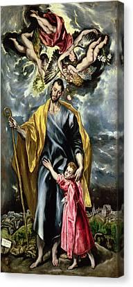 Saint Joseph And The Christ Child Canvas Print by El Greco
