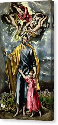 Saint Joseph And The Christ Child Canvas Print by El Greco