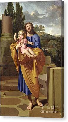 St. Joseph Carrying The Infant Jesus Canvas Print by Pierre  Letellier