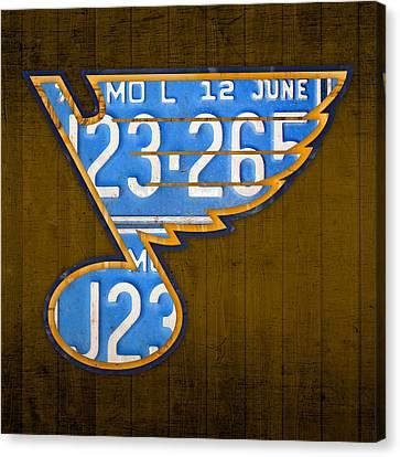 St Louis Blues Hockey Team Retro Logo Vintage Recycled Missouri License Plate Art Canvas Print by Design Turnpike