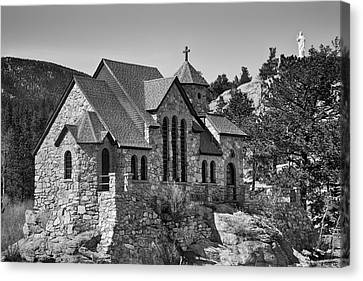 St Malo Chapel On The Rock Colorado Bw Canvas Print by James BO  Insogna