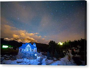 St Malos Chapel On The Rocks Starry Night View  Canvas Print by James BO  Insogna
