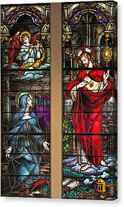 St. Margaret Mary Alacoque And Sacred Heart Of Jesus Canvas Print by Bonnie Barry
