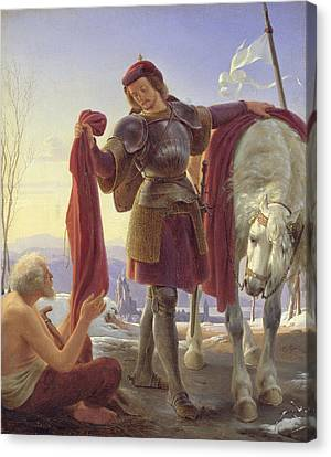 St. Martin And The Beggar, 1836 Oil On Canvas Canvas Print by Alfred Rethel