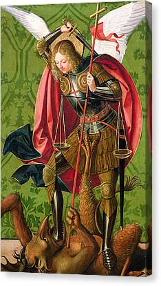 St. Michael Killing The Dragon  Canvas Print by Josse Lieferinxe