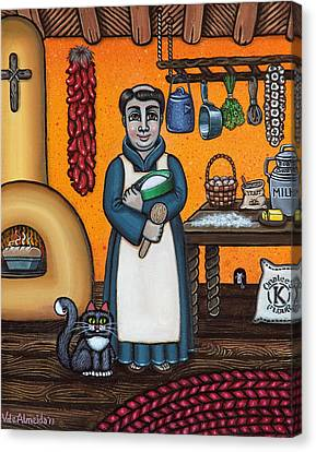 St. Pascual Making Bread Canvas Print by Victoria De Almeida