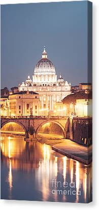 St. Peter's Basilica At Night Canvas Print by Matteo Colombo