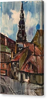 St. Peter's Church In Riga Canvas Print by Anna Lobovikov-Katz