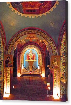 St Photios Greek Shrine Canvas Print by Elizabeth Hoskinson