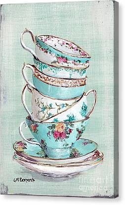 Stacked Aqua Themed Tea Cups Canvas Print by Gail McCormack